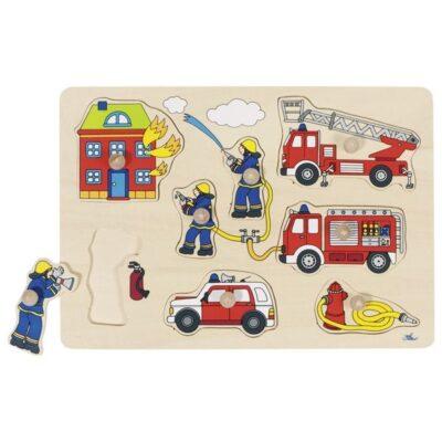 Drewniana układanka z uchwytami Strażacy II | Goki