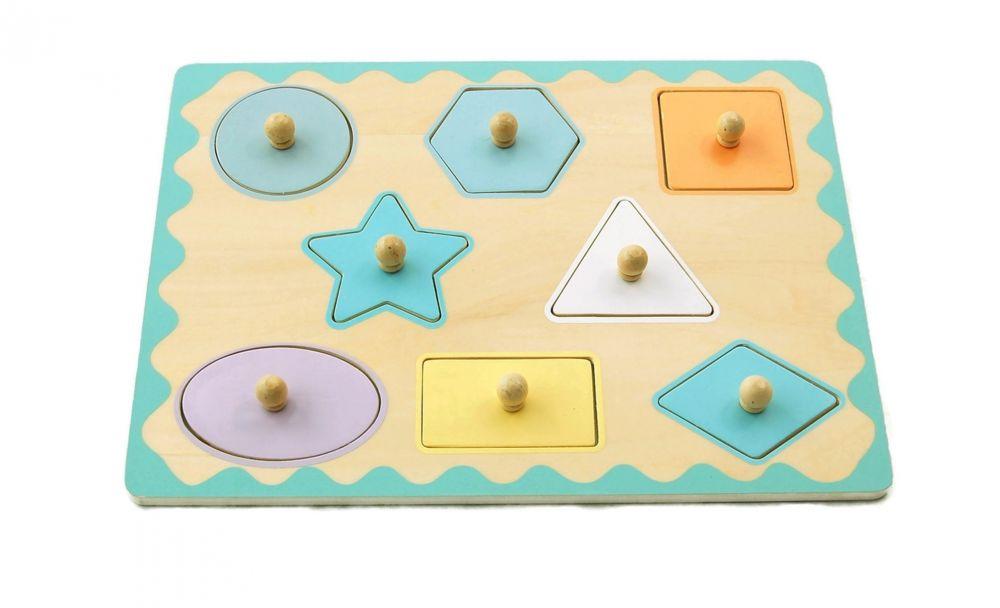 Pastelowa układanka z uchwytami Kształty | AdamToys