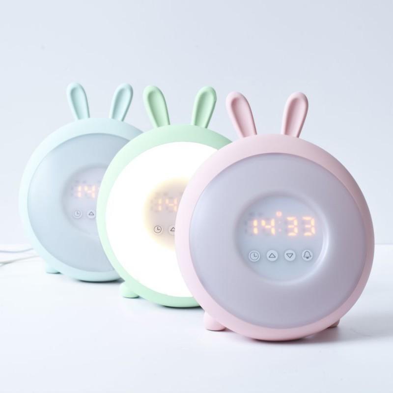 Lampka - zegarek Króliczek , budząca światłem - 3 kolory