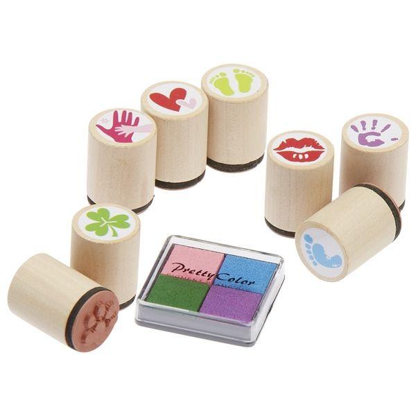Zestaw drewnianych stempelków Znaczki szczęścia 8szt | Goki