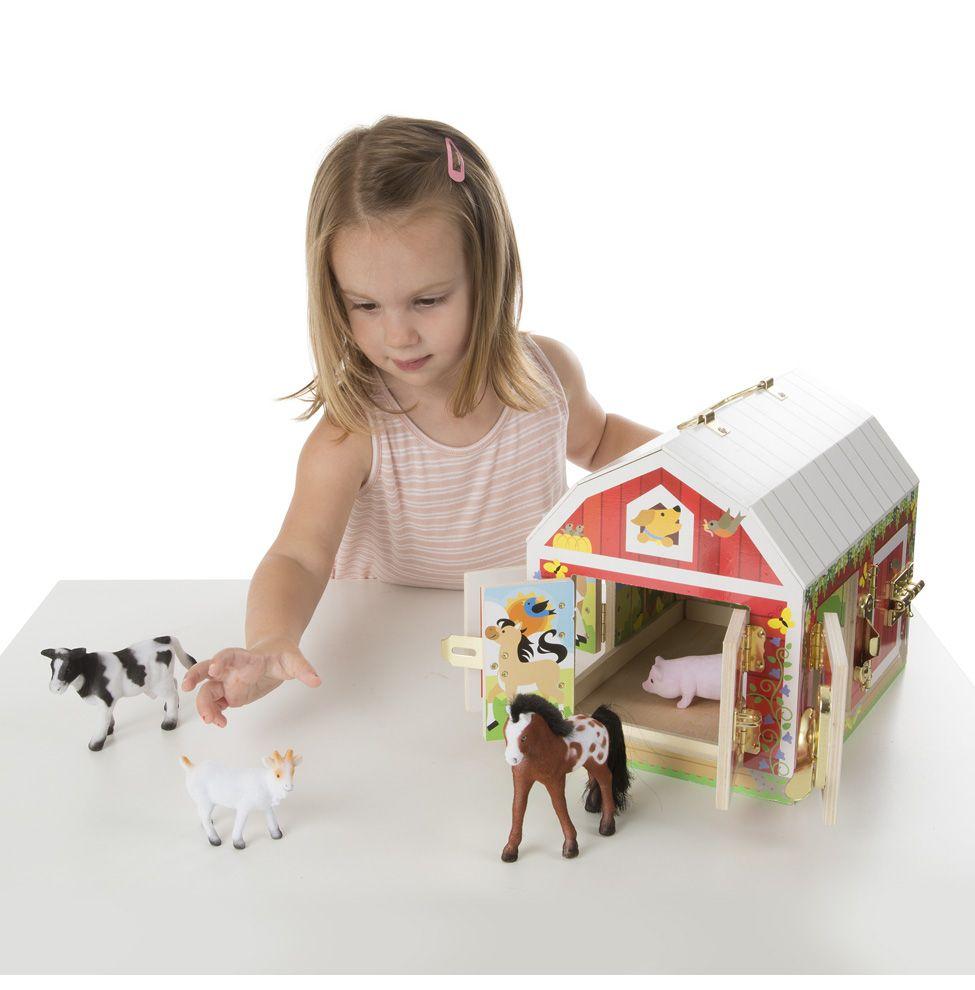 Drewniana stodoła ze zwierzakami i kłódkami  | Melissa&Doug