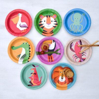 Talerzyki papierowe 8 szt., Kolorowe Zwierzaki | Rex London