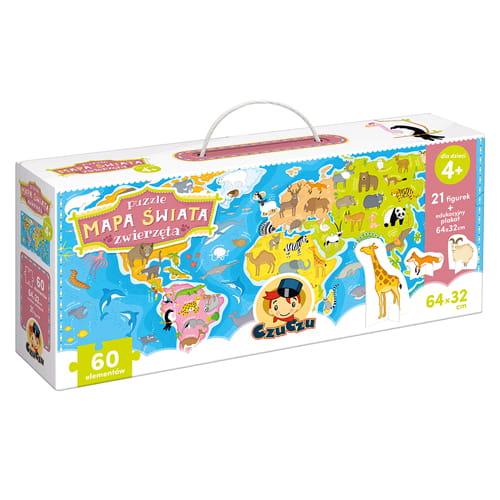 Puzzle mapa świata Zwierzęta + figurki | Czuczu