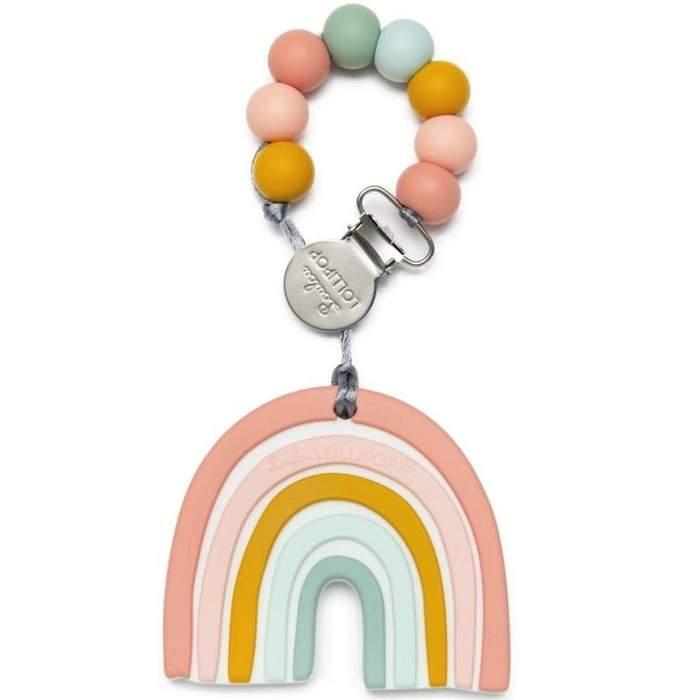 Gryzak silikonowy z zawieszką Pastel Rainbow | Loulou Lollipop