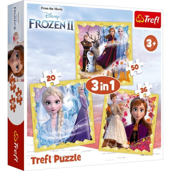 Puzzle 3w1 Kraina Lodu 2, Moc Anny i Elsy 20/36/50el | Trefl