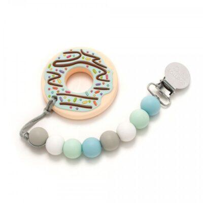 Gryzak silikonowy z zawieszką Donut Blue   Lolou Lollipop
