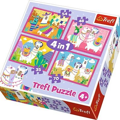 Puzzle 4w1 - 35/48/54/70 - Lamy na wakacjach | Trefl