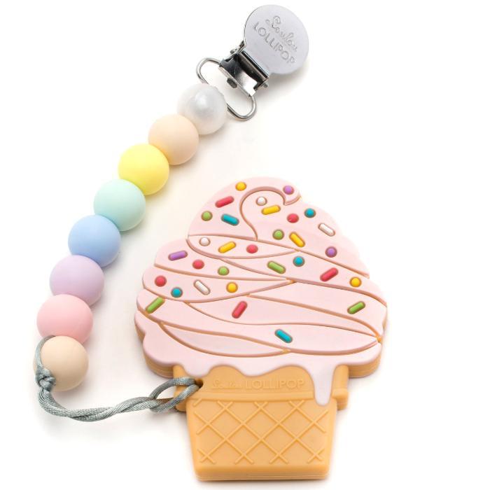 Gryzak silikonowy z zawieszką Ice Cream Stawberry | Loulou Lollipop