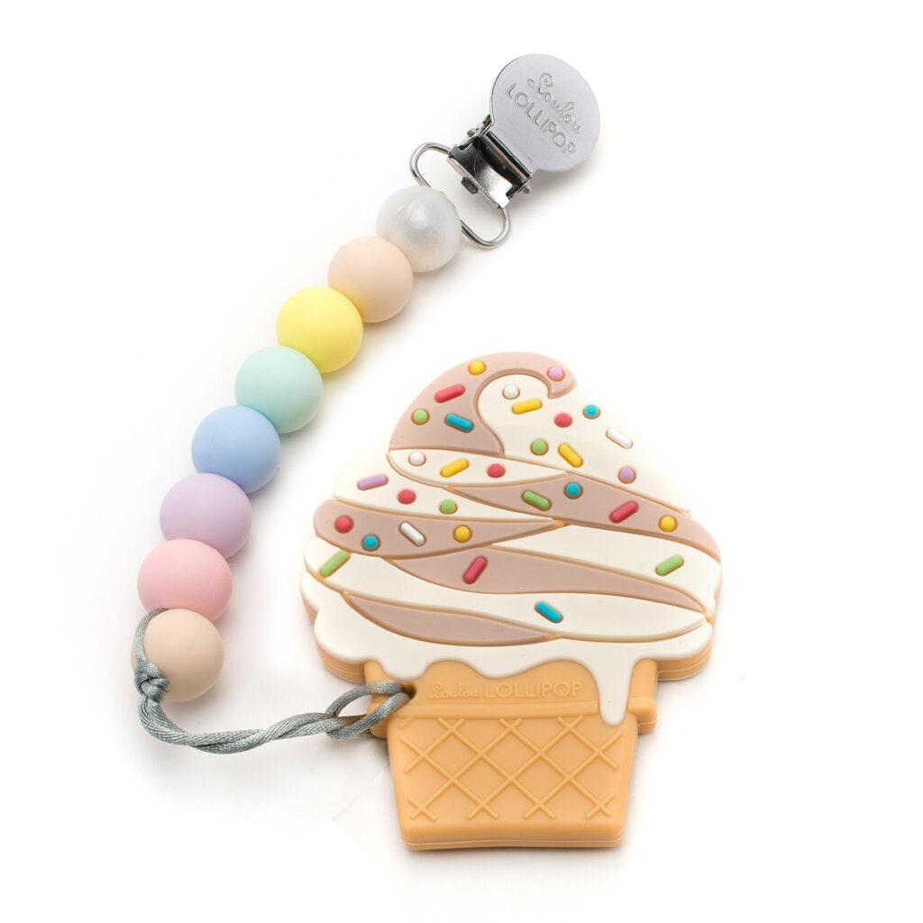 Gryzak silikonowy z zawieszką Ice Cream Choccolate | Loulou Lollipop