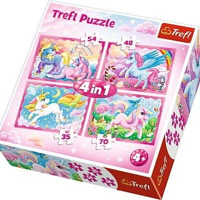Puzzle 4w1 - 35/48/54/70 - Magiczny świat jednorożców | Trefl