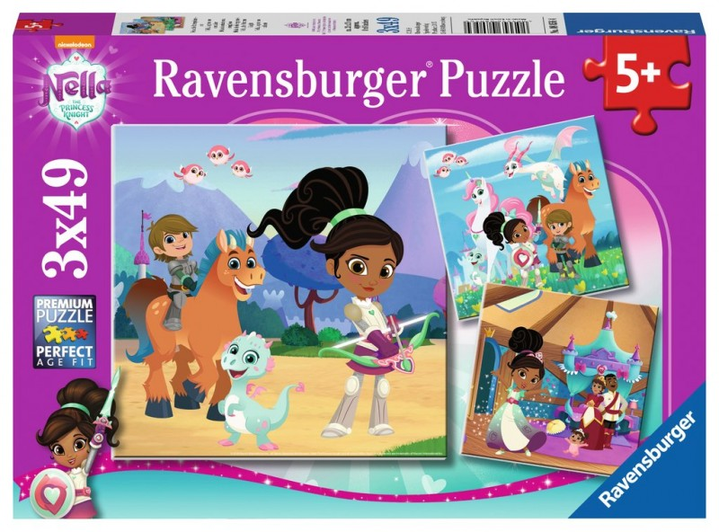 Puzzle 3x49 elementów - Nella, Księżniczka i rycerz | Ravensburger