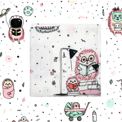 Muślinowa pieluszka /myjka jeże, róż | Lullalove
