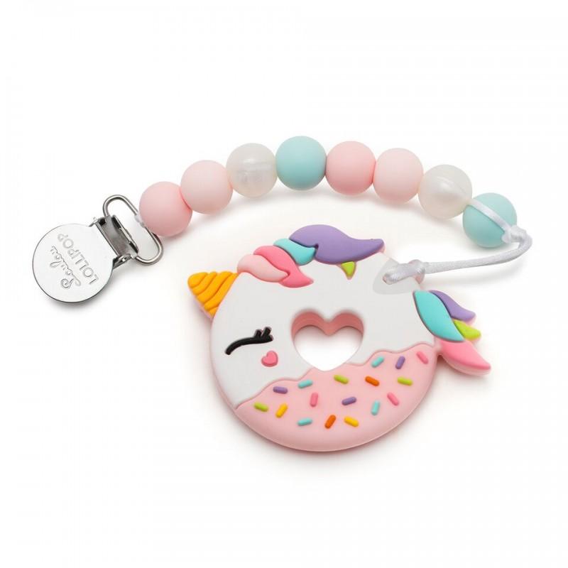 Gryzak silikonowy z zawieszką Donut Pink Unicorn | Loulou Lollipop