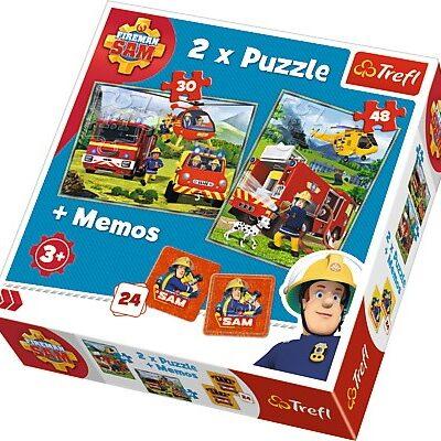 Puzzle x 2 + memo - Strażak Sam, Strażacy w akcji   Trefl