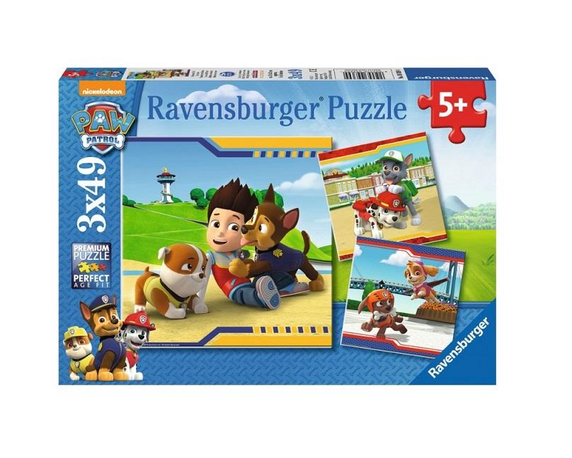 Puzzle 3x49 elementów - Psi Patrol, Futrzani bohaterowie