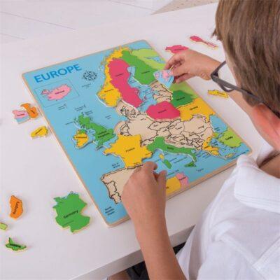 Drewniane puzzle - mapa Europy | Bigjigs
