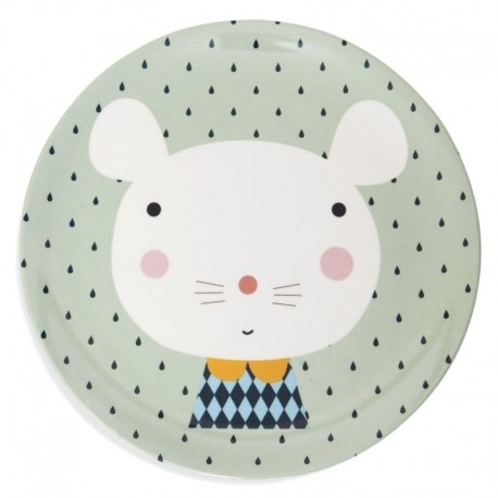 Talerz płaski z melaminy Myszka i Krople | Petit Monkey