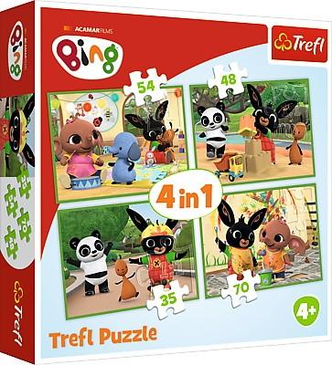 Puzzle 4w1 Bing - Wesoły dzień 35/48/54/70el | Trefl