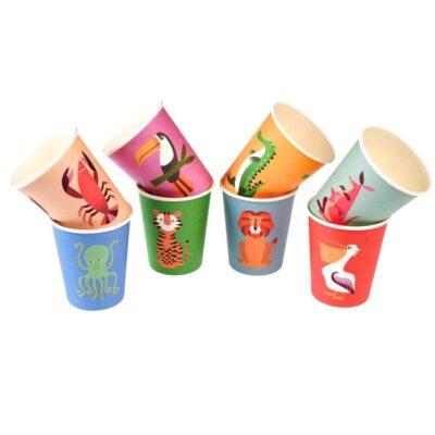 Kubki papierowe 8 szt., Kolorowe Zwierzaki   Rex London