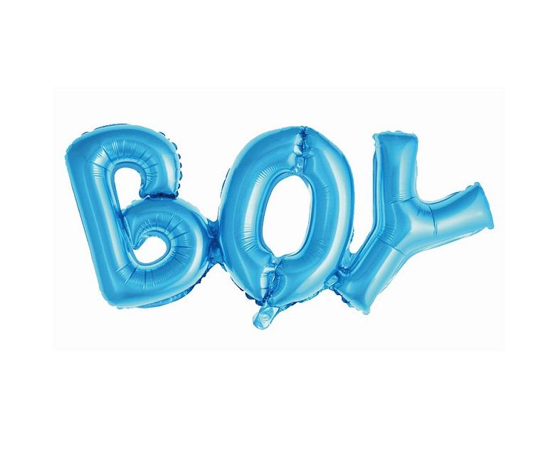 Balon foliowy Napis BOY, niebieski, 71 cm
