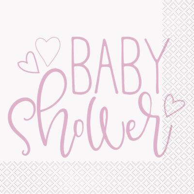 Serwetki papierowe Różowe Serce Baby Shower, 33x33 cm, 16 szt.