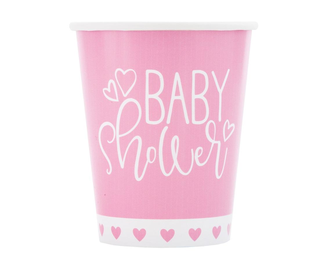 Kubeczki papierowe Różowe Serce Baby Shower, 8 szt.