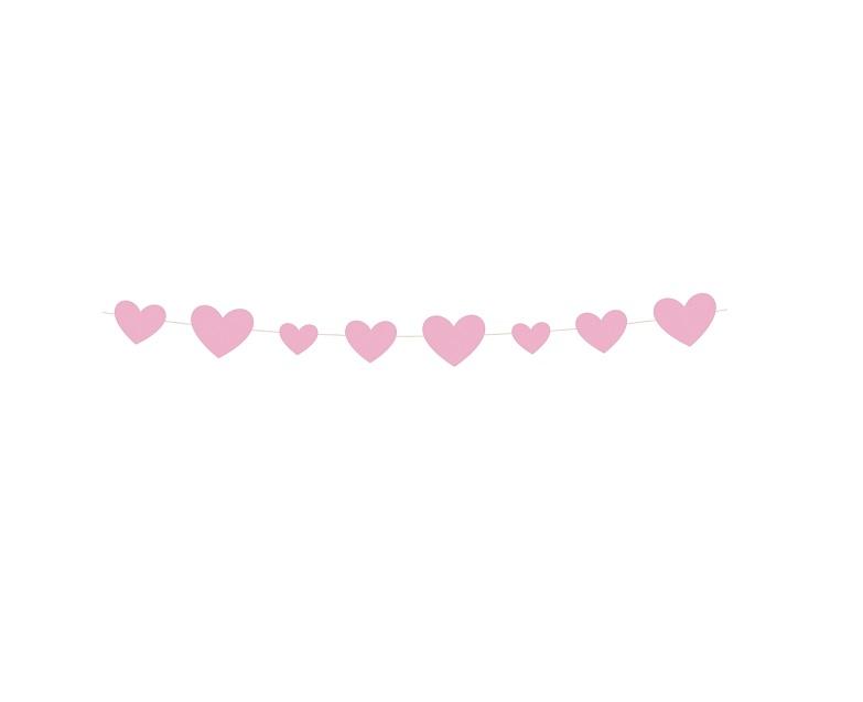 Girlanda Babby Shower, różowe serca 2,74m