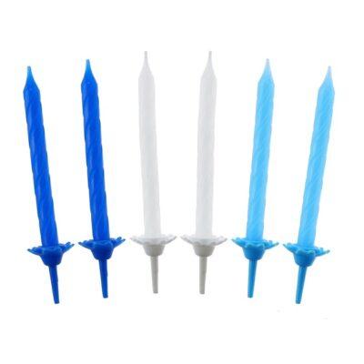 Świeczki urodzinowe 24szt, kolekcja niebieska, wzór nr 3