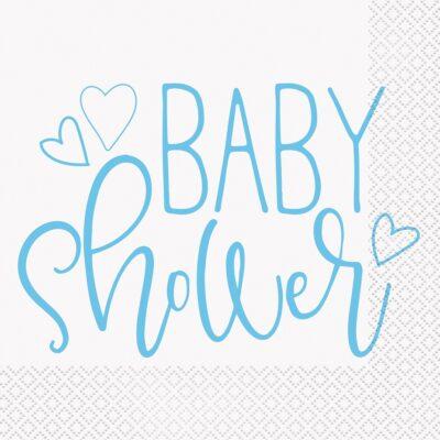 Serwetki papierowe Niebieskie Serce Baby Shower, 33x33 cm, 16 szt.