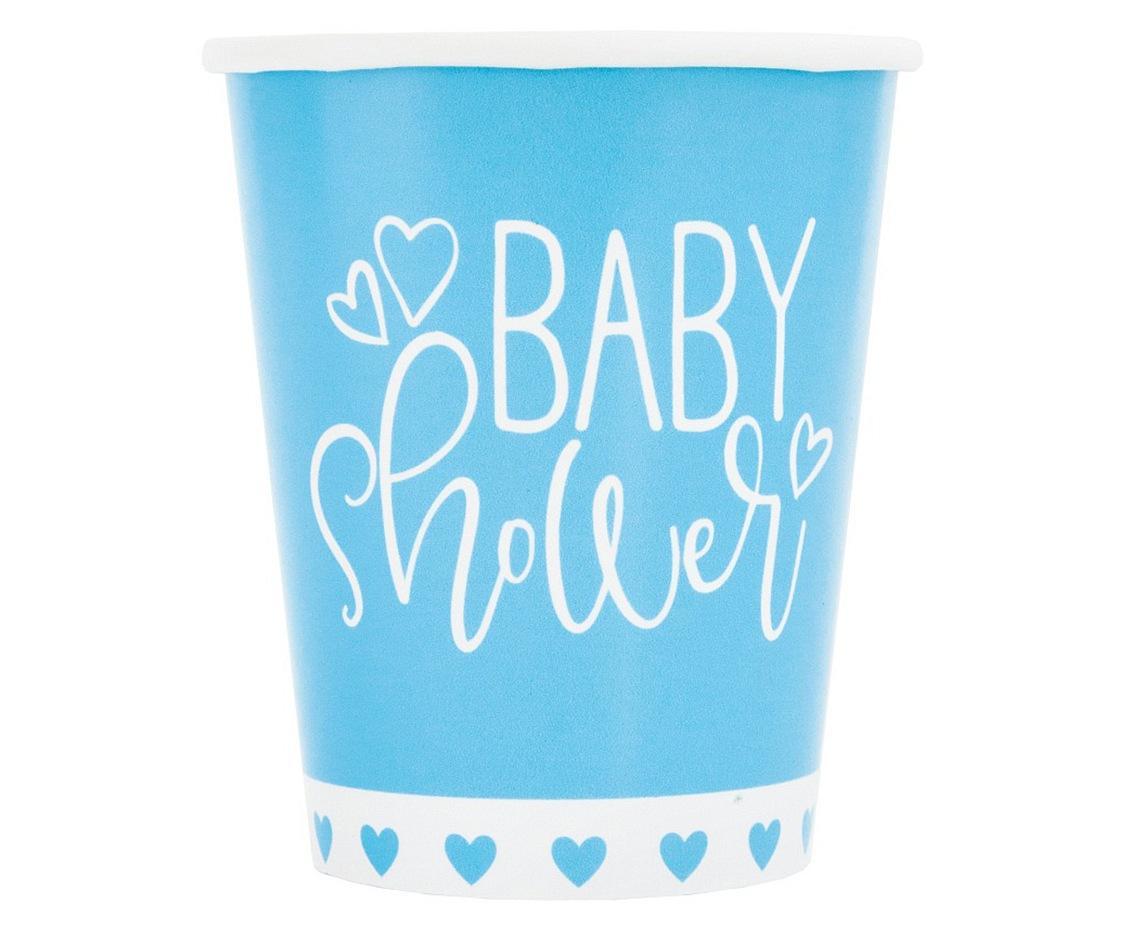 Kubeczki papierowe Baby Shower, niebieskie serca, 266 ml,8szt.