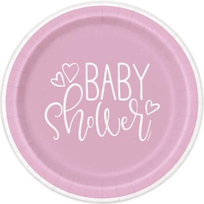 Talerzyki papierowe Różowe Serce Baby Shower, 23 cm, 8 szt.