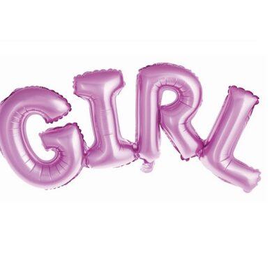 Balon foliowy Napis GIRL, różowy, 73 cm