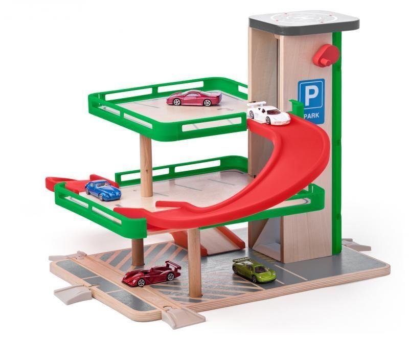 Drewniany parking garaż z autkami Siku | Woody