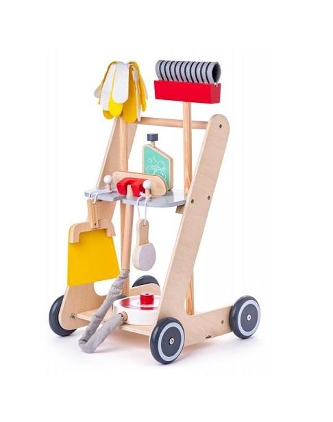 Drewniany zestaw do sprzątania z wózkiem | Woody