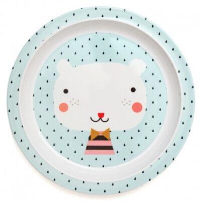 Talerz płaski z melaminy Miś i Krople | Petit Monkey