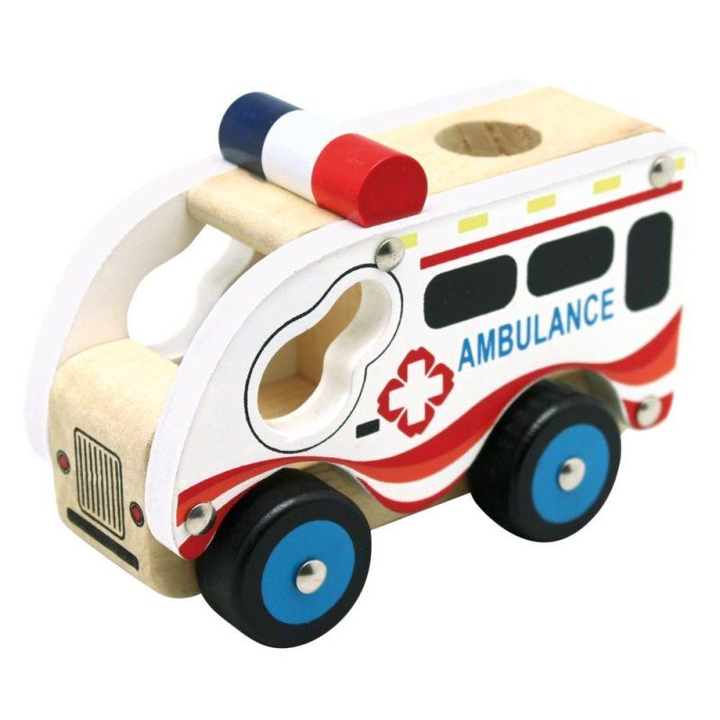 Drewniane autko - Ambulans   Bino