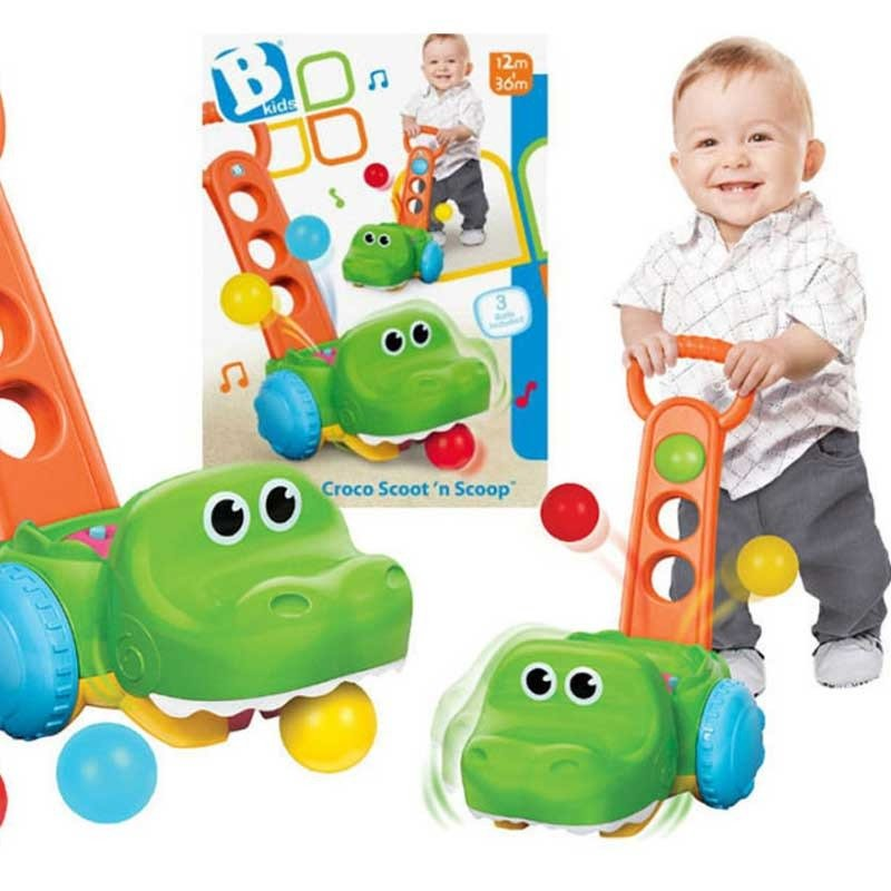 Krokodyl pchacz-odkurzacz z piłeczkami | B-Kids