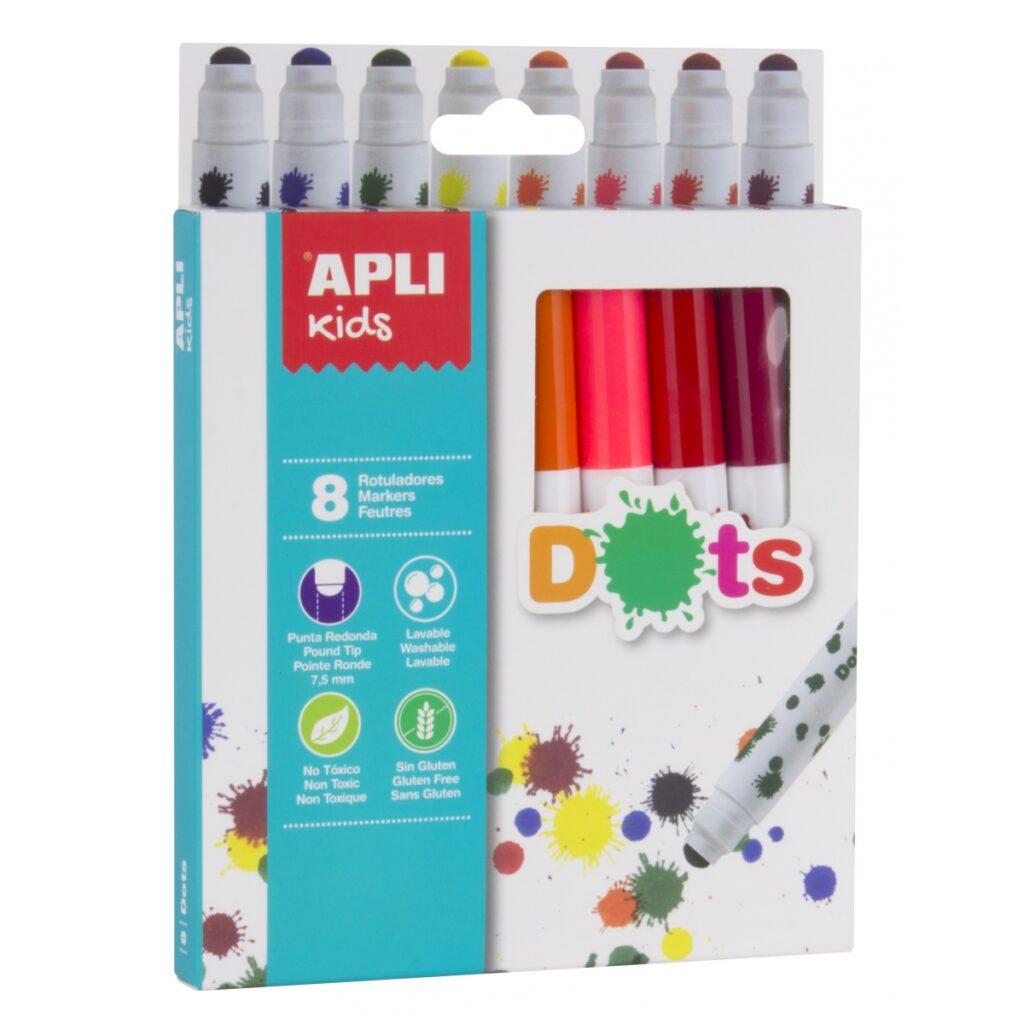 Kropkowe flamastry 8 kolorów   Apli Kids
