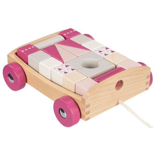 Drewniany wózek do ciągnięcia z klockami Berry   Goki