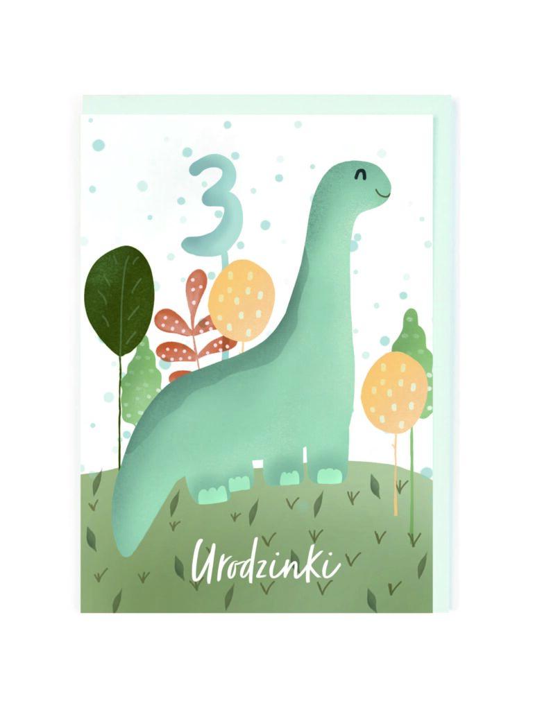 Kartka okolicznościowa 3 Urodzinki Dinozaur