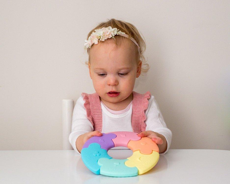 Pierwsze puzzle sensoryczne, pastelowe kółko | JellyStone