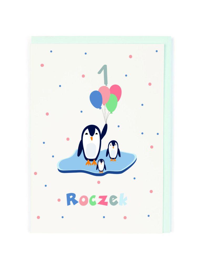 Kartka okolicznościowa Roczek Pingwiny z balonami