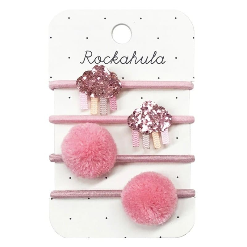 Gumki do włosów 4szt Rainbow Cloud Glitter Pink | Rockahula Kids