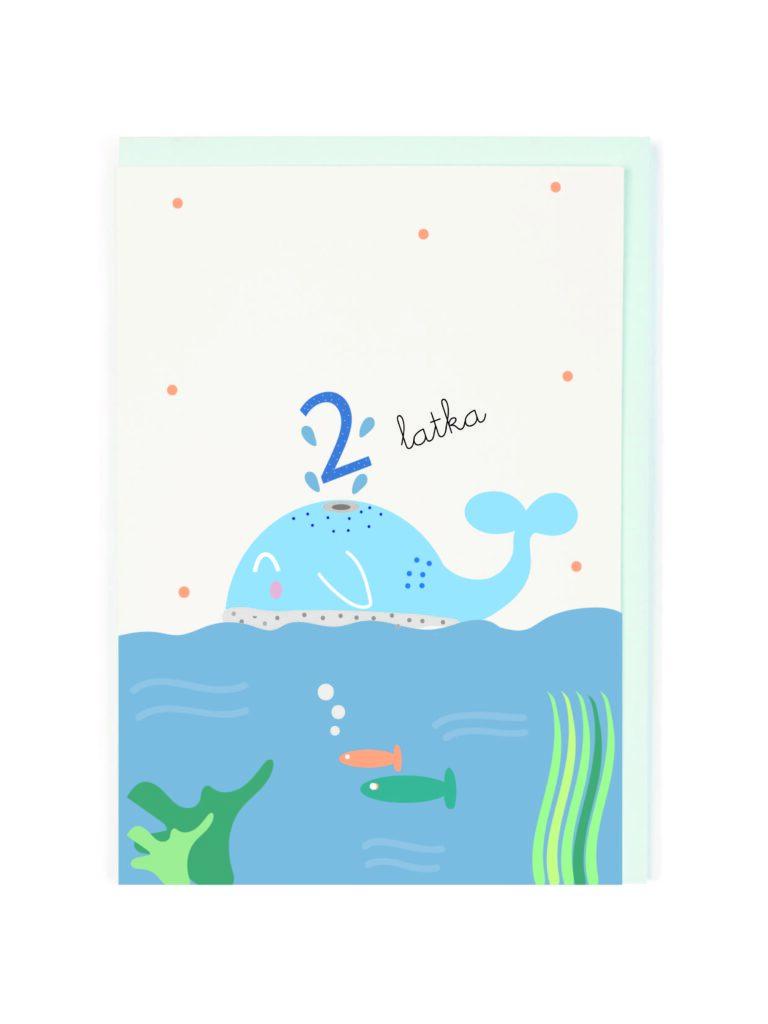 Kartka okolicznościowa 2 Latka Wieloryb
