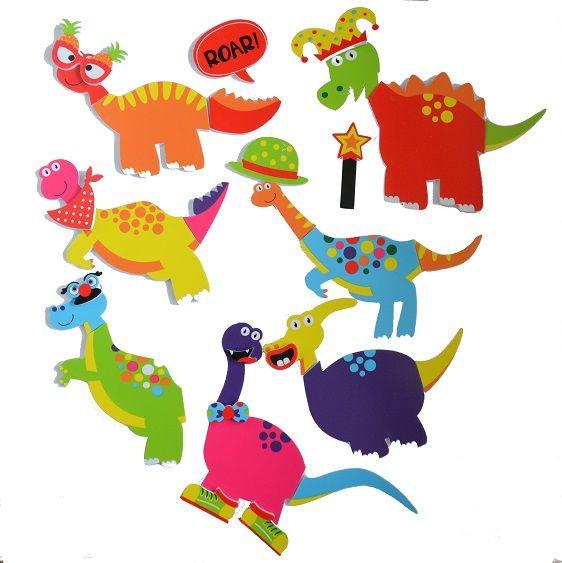 Naklejki piankowe do kąpieli Szalone Dinozaury   Buddy&Barney