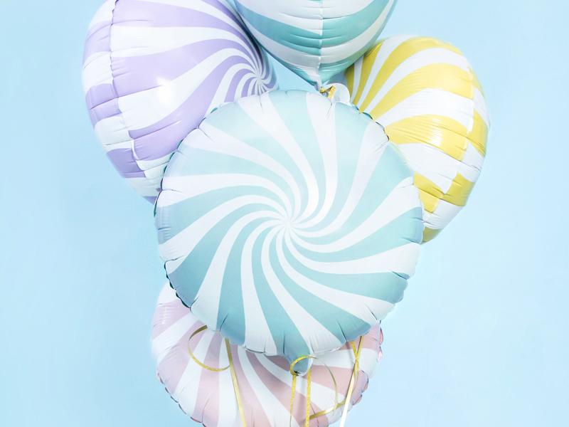 Balon foliowy Cukierek, 35cm, jasny niebieski
