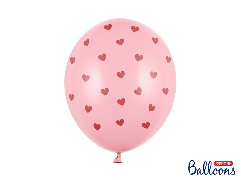 Balony 30 cm, Serca, Pastel Baby Pink 6szt