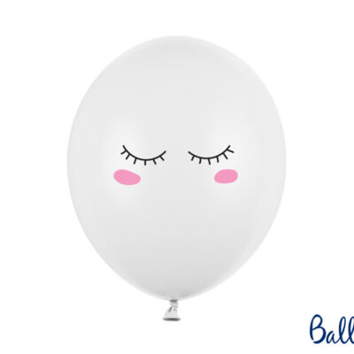 Balony 30cm Buźka, Pastel Pure White 6szt