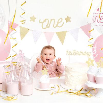 Zestaw dekoracji party - 1st Birthday, złoty