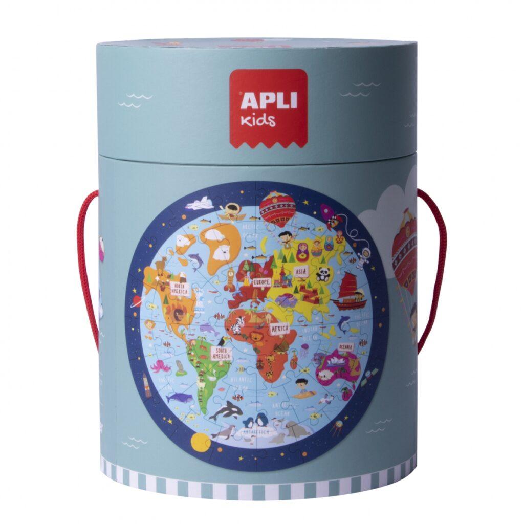 Puzzle okrągłe w tubie Mapa Świata 48el   Apli Kids